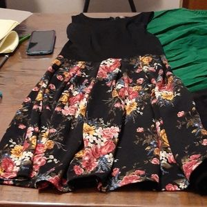 Xhiliration black dress with a floral skirt